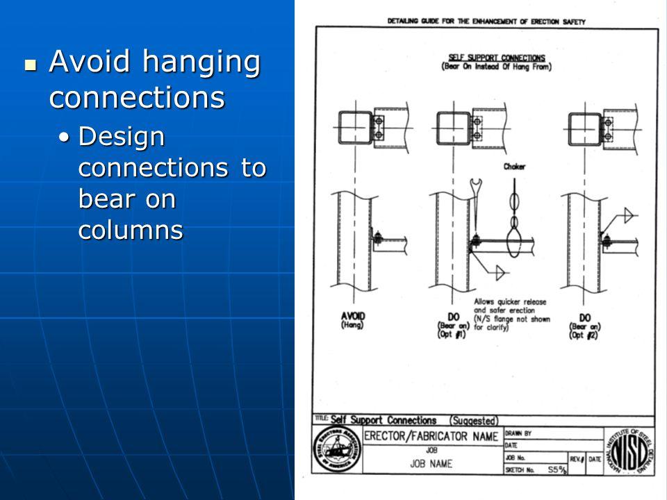 Avoid hanging connections Avoid hanging connections Design connections to bear on columnsDesign connections to bear on columns