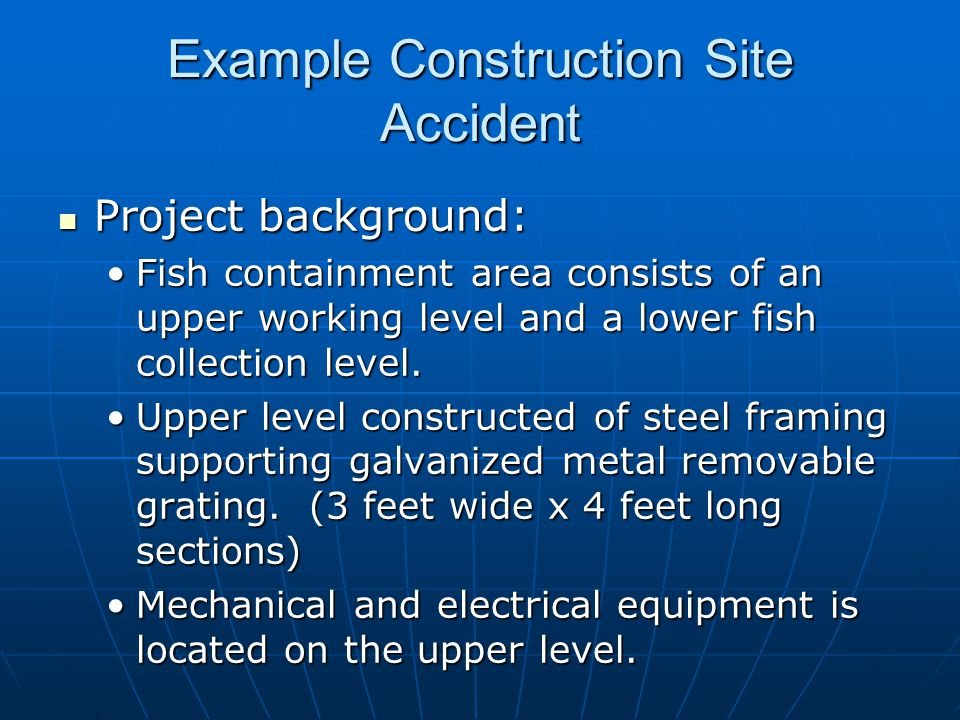 Project background: Project background: Fish containment area consists of an upper working level and a lower fish collection level.Fish containment area consists of an upper working level and a lower fish collection level.