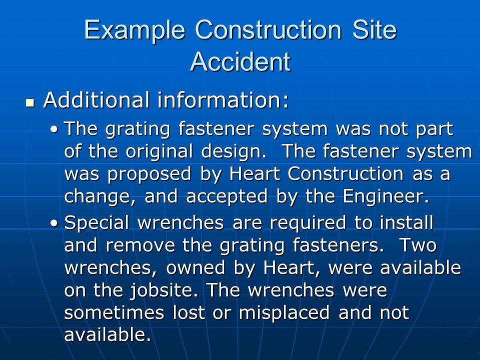 Additional information: Additional information: The grating fastener system was not part of the original design.