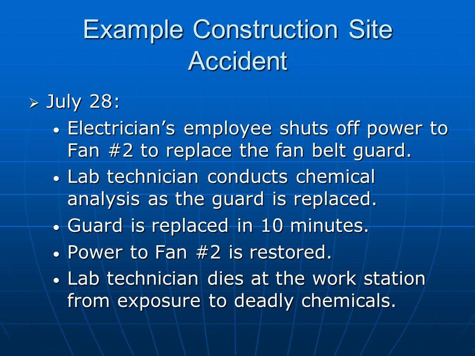  July 28: Electrician's employee shuts off power to Fan #2 to replace the fan belt guard.