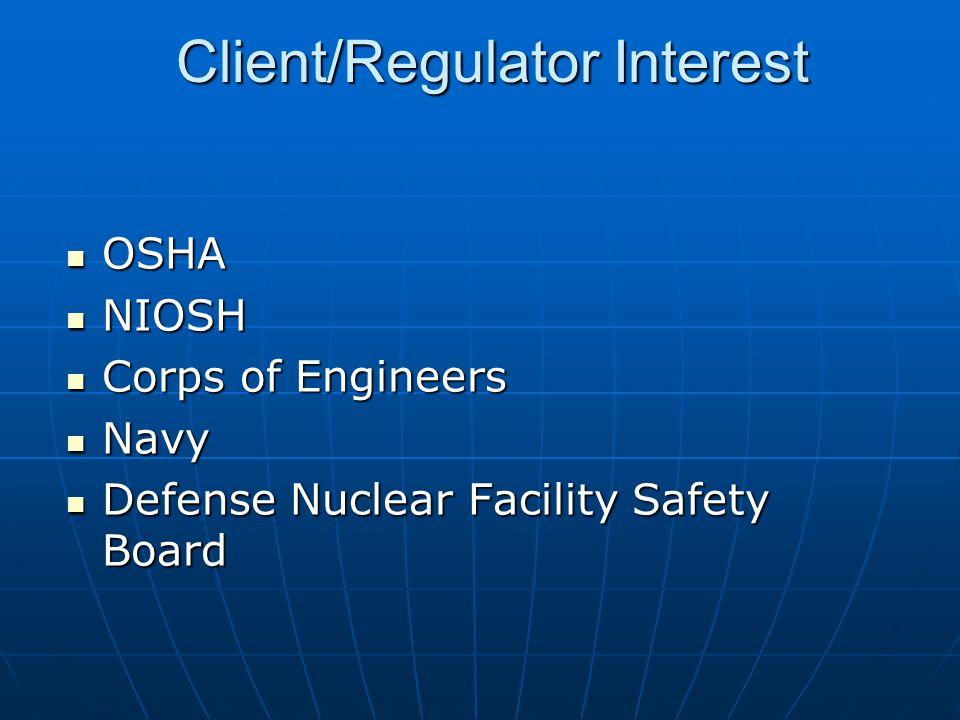 Client/Regulator Interest OSHA OSHA NIOSH NIOSH Corps of Engineers Corps of Engineers Navy Navy Defense Nuclear Facility Safety Board Defense Nuclear Facility Safety Board
