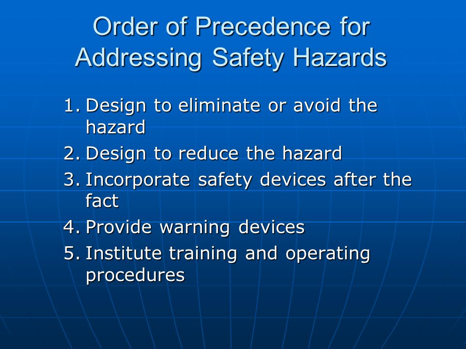 Order of Precedence for Addressing Safety Hazards 1.Design to eliminate or avoid the hazard 2.Design to reduce the hazard 3.Incorporate safety devices after the fact 4.Provide warning devices 5.Institute training and operating procedures