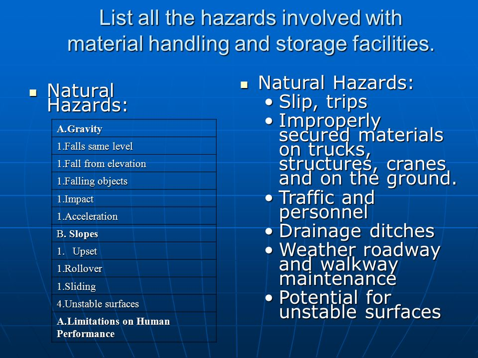 List all the hazards involved with material handling and storage facilities.