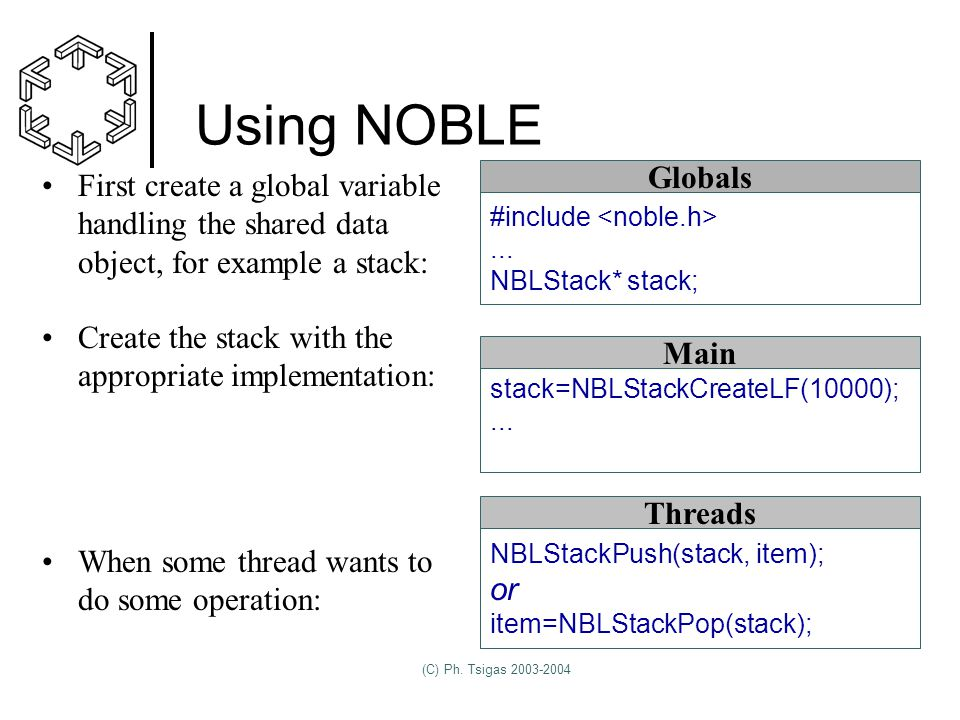 (C) Ph. Tsigas 2003-2004 Using NOBLE stack=NBLStackCreateLF(10000);...