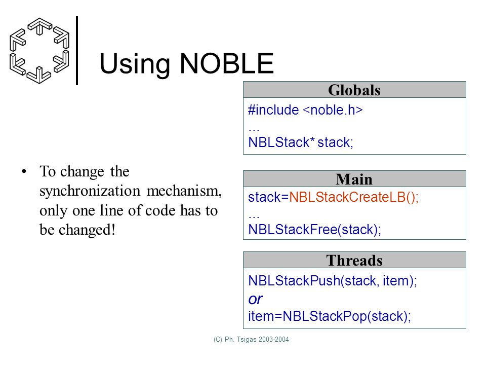 (C) Ph. Tsigas 2003-2004 Using NOBLE stack=NBLStackCreateLB();...