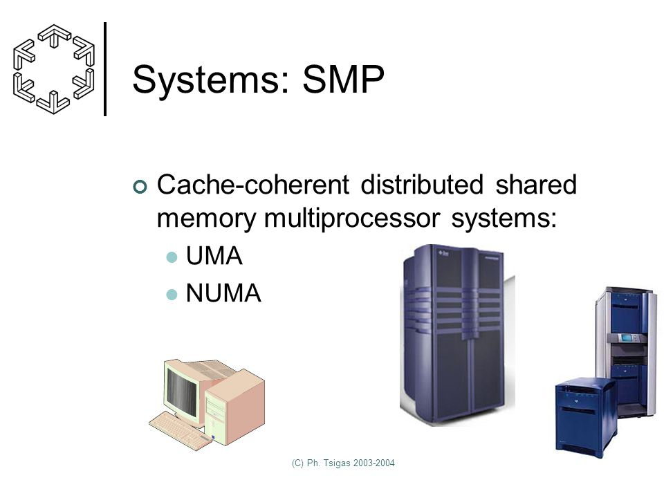 (C) Ph. Tsigas 2003-2004 Systems: SMP Cache-coherent distributed shared memory multiprocessor systems: UMA NUMA