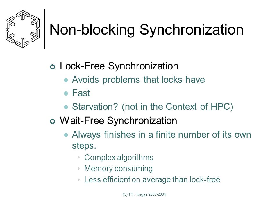 (C) Ph. Tsigas 2003-2004 Non-blocking Synchronization Lock-Free Synchronization Avoids problems that locks have Fast Starvation? (not in the Context o