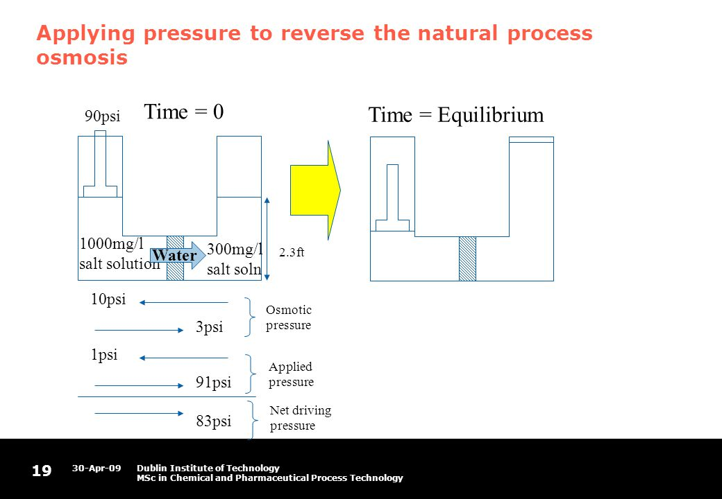 19 30-Apr-09Dublin Institute of Technology MSc in Chemical and Pharmaceutical Process Technology Applying pressure to reverse the natural process osmosis 1000mg/l salt solution 300mg/l salt soln 10psi 3psi Water 1psi 91psi 83psi 2.3ft 90psi Time = 0 Time = Equilibrium Osmotic pressure Applied pressure Net driving pressure