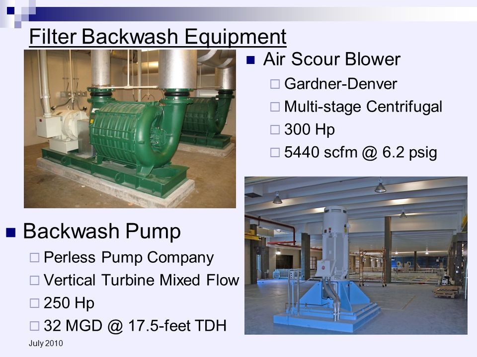 July 2010 Filter Backwash Equipment Backwash Pump  Perless Pump Company  Vertical Turbine Mixed Flow  250 Hp  32 MGD @ 17.5-feet TDH Air Scour Blower  Gardner-Denver  Multi-stage Centrifugal  300 Hp  5440 scfm @ 6.2 psig