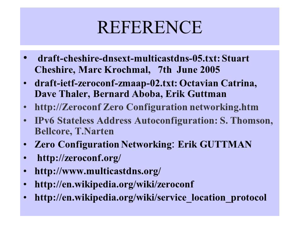 REFERENCE draft-cheshire-dnsext-multicastdns-05.txt: Stuart Cheshire, Marc Krochmal, 7th June 2005 draft-ietf-zeroconf-zmaap-02.txt: Octavian Catrina, Dave Thaler, Bernard Aboba, Erik Guttman.org/.org/ http://Zeroconf Zero Configuration networking.htm IPv6 Stateless Address Autoconfiguration: S.
