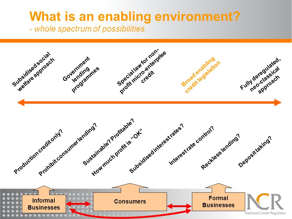 What is an enabling environment? - whole spectrum of possibilities Subsidised social welfare approach Fully deregulated, neo-classical approach Specia