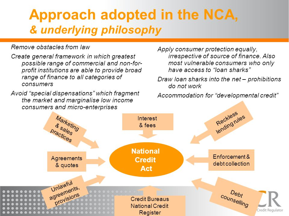 Approach adopted in the NCA, & underlying philosophy Remove obstacles from law Create general framework in which greatest possible range of commercial and non-for- profit institutions are able to provide broad range of finance to all categories of consumers Avoid special dispensations which fragment the market and marginalise low income consumers and micro-enterprises Apply consumer protection equally, irrespective of source of finance.
