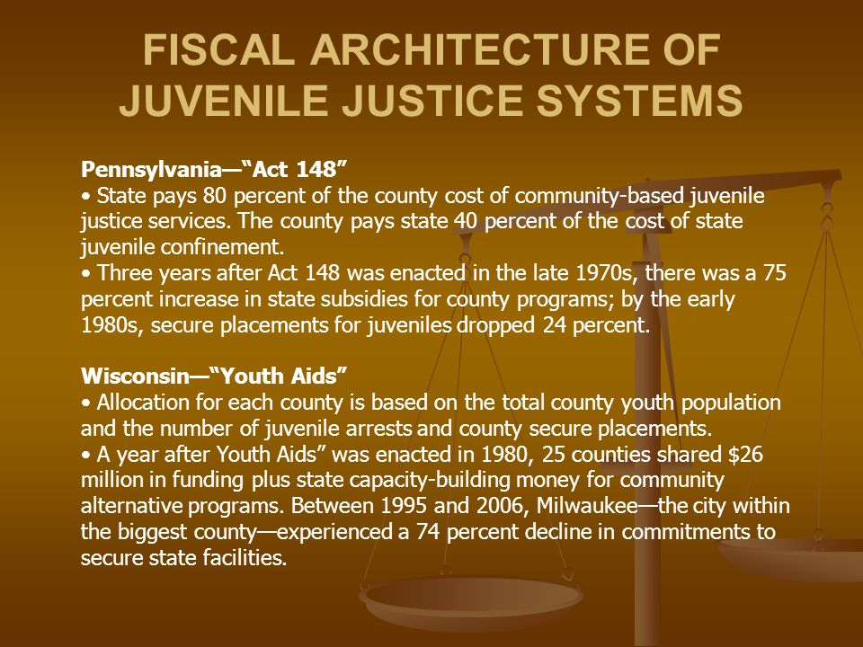 FISCAL ARCHITECTURE OF JUVENILE JUSTICE SYSTEMS Pennsylvania— Act 148 State pays 80 percent of the county cost of community-based juvenile justice services.