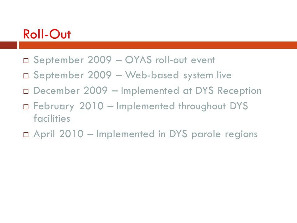 Roll-Out  September 2009 – OYAS roll-out event  September 2009 – Web-based system live  December 2009 – Implemented at DYS Reception  February 201