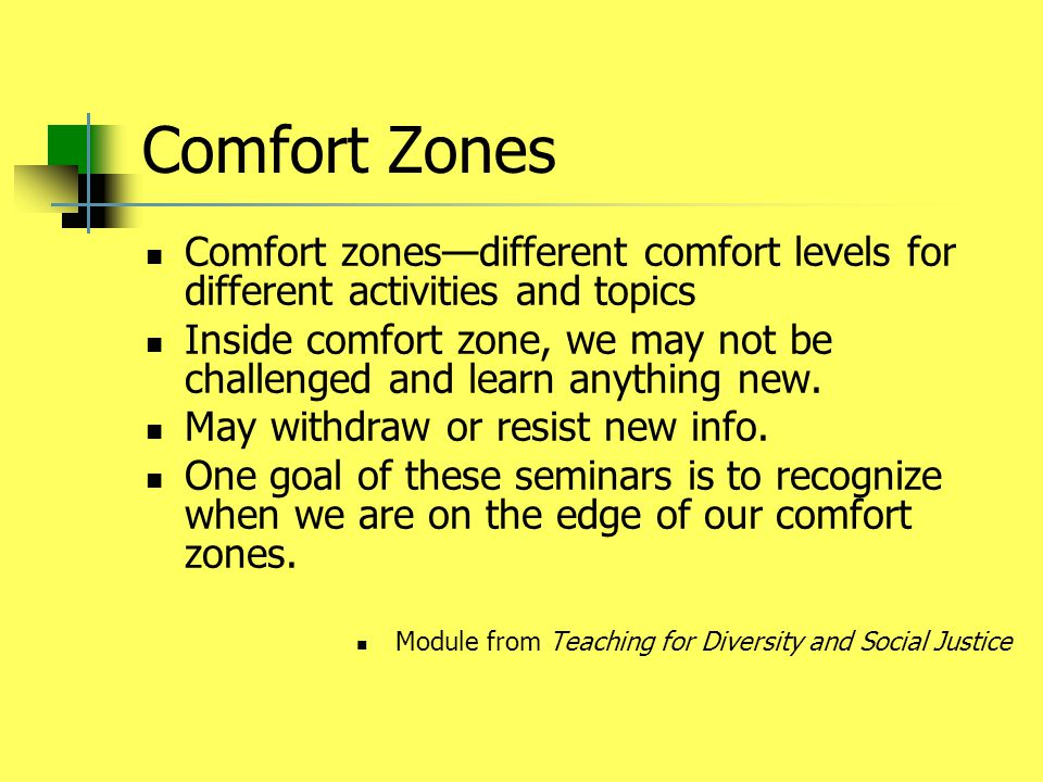 Comfort Zones Comfort zones—different comfort levels for different activities and topics Inside comfort zone, we may not be challenged and learn anything new.