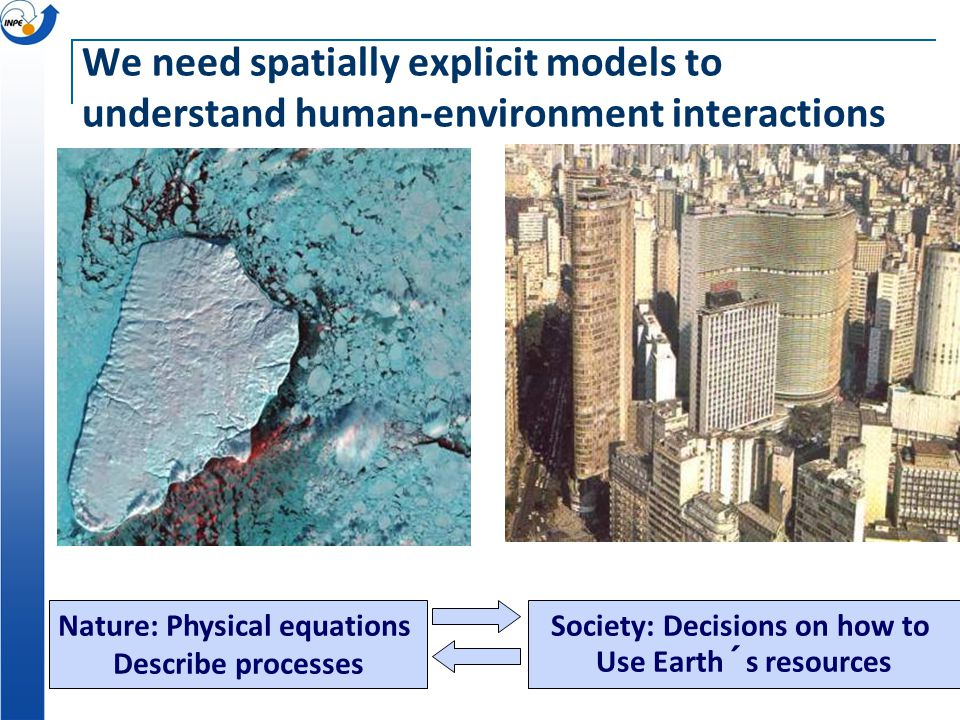 Nature: Physical equations Describe processes Society: Decisions on how to Use Earth´s resources We need spatially explicit models to understand human-environment interactions