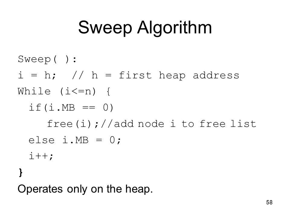 58 Sweep Algorithm Sweep( ): i = h; // h = first heap address While (i<=n) { if(i.MB == 0) free(i);//add node i to free list else i.MB = 0; i++; } Ope