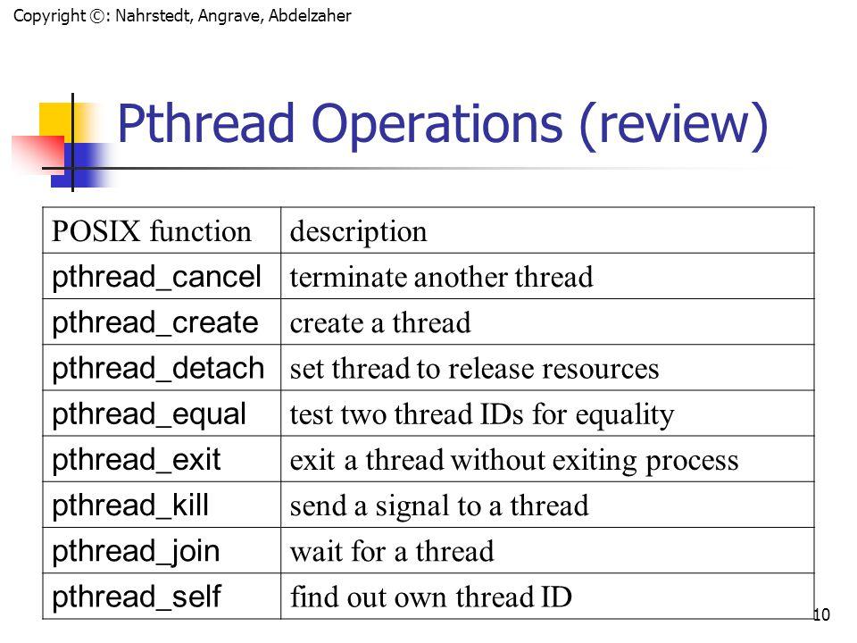 Copyright ©: Nahrstedt, Angrave, Abdelzaher 9 Hybrid Implementations (Solaris) Multiplexing user-level threads onto kernel-level threads