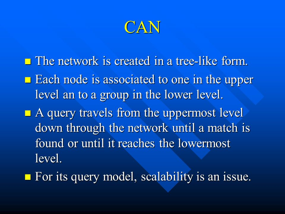 CAN The network is created in a tree-like form. The network is created in a tree-like form.