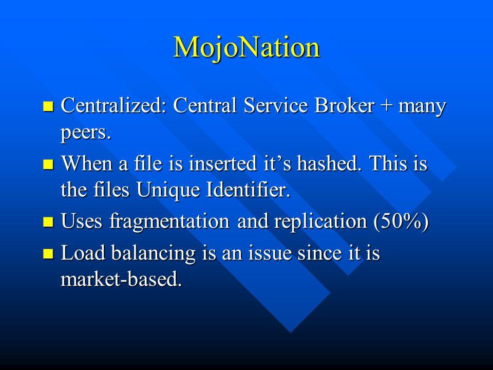 MojoNation Centralized: Central Service Broker + many peers.