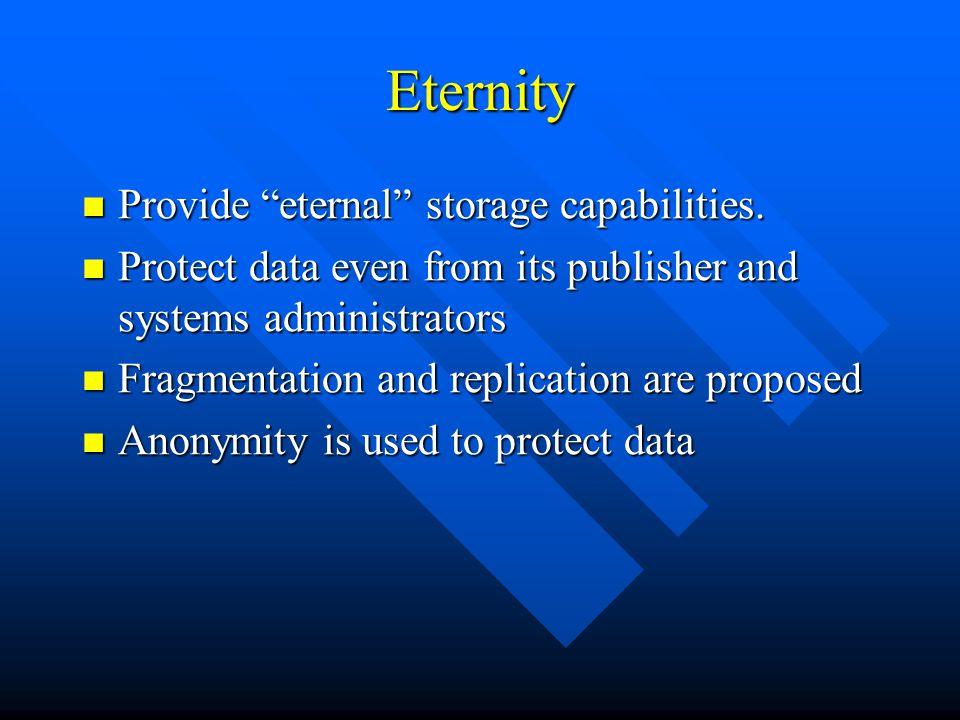 Eternity Provide eternal storage capabilities. Provide eternal storage capabilities.