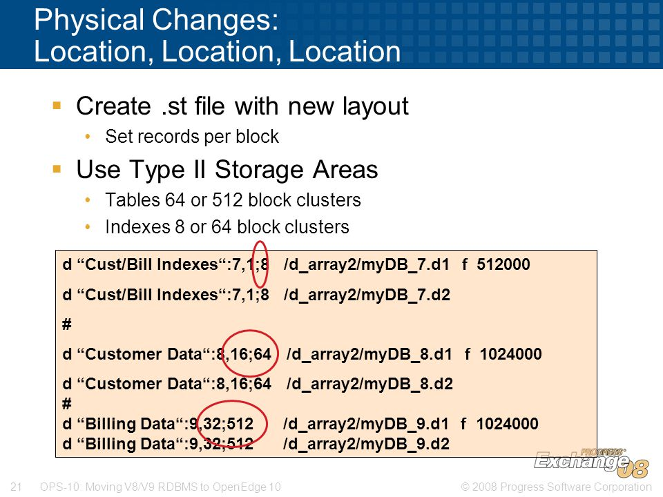 © 2008 Progress Software Corporation21 OPS-10: Moving V8/V9 RDBMS to OpenEdge 10 Physical Changes: Location, Location, Location  Create.st file with