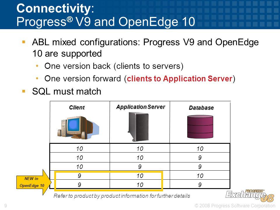 © 2008 Progress Software Corporation9 Connectivity: Progress ® V9 and OpenEdge 10  ABL mixed configurations: Progress V9 and OpenEdge 10 are supporte