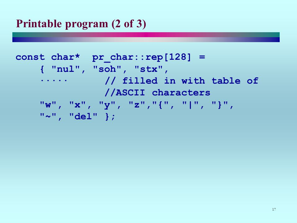 17 Printable program (2 of 3) const char* pr_char::rep[128] = { nul , soh , stx , ·····// filled in with table of //ASCII characters w , x , y , z , { , | , } , ~ , del };