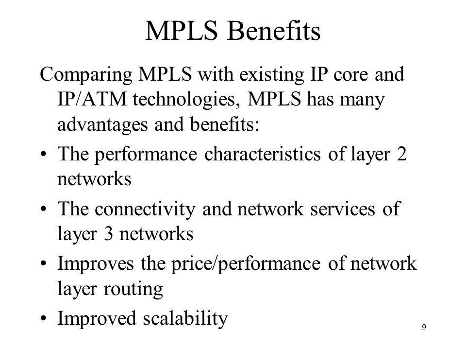 8 Basic Model for MPLS Network MPLS LSR = Label Switched Router LER = Label Edge Router LER LSR LER LSR IP MPLS IP Internet LSR