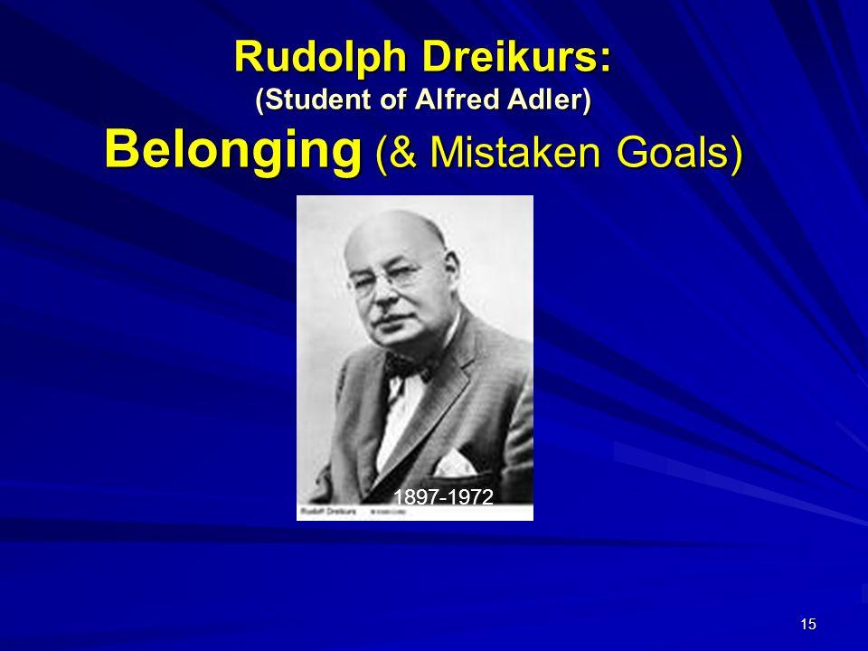 15 Rudolph Dreikurs: (Student of Alfred Adler) Belonging (& Mistaken Goals) 1897-1972