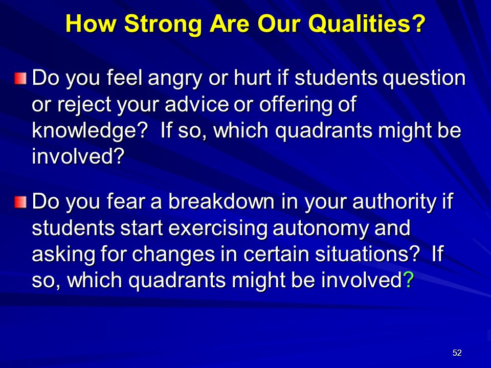 52 How Strong Are Our Qualities.