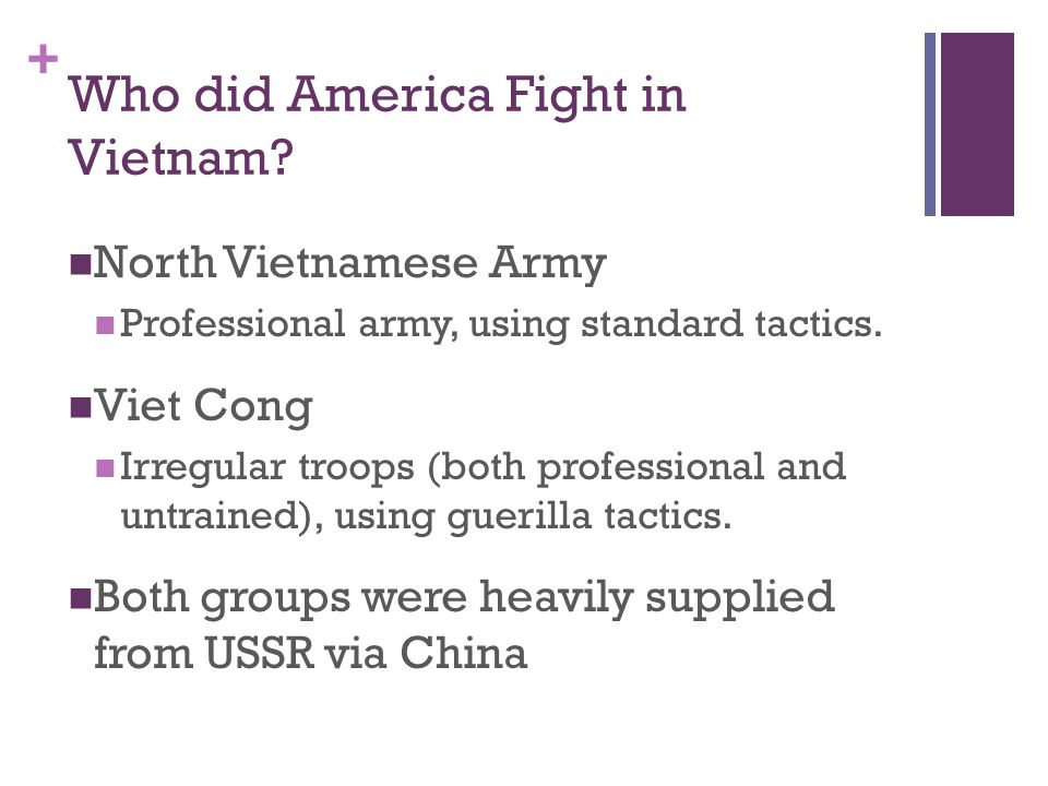 + Who did America Fight in Vietnam? North Vietnamese Army Professional army, using standard tactics. Viet Cong Irregular troops (both professional and