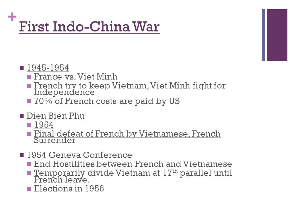+ First Indo-China War 1945-1954 France vs. Viet Minh French try to keep Vietnam, Viet Minh fight for Independence 70% of French costs are paid by US