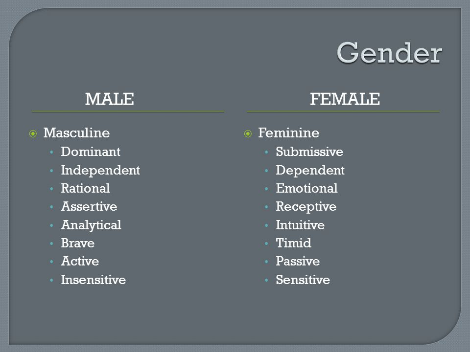MALEFEMALE  Masculine Dominant Independent Rational Assertive Analytical Brave Active Insensitive  Feminine Submissive Dependent Emotional Receptive Intuitive Timid Passive Sensitive