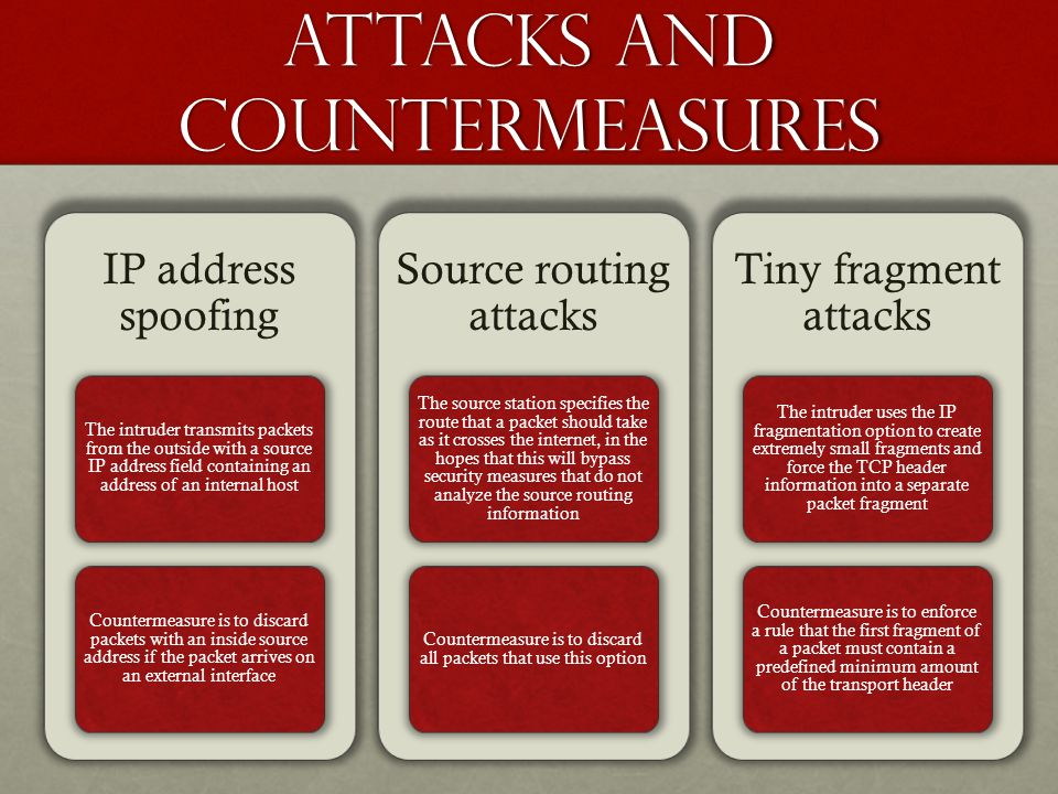Attacks and countermeasures IP address spoofing The intruder transmits packets from the outside with a source IP address field containing an address of an internal host Countermeasure is to discard packets with an inside source address if the packet arrives on an external interface Source routing attacks The source station specifies the route that a packet should take as it crosses the internet, in the hopes that this will bypass security measures that do not analyze the source routing information Countermeasure is to discard all packets that use this option Tiny fragment attacks The intruder uses the IP fragmentation option to create extremely small fragments and force the TCP header information into a separate packet fragment Countermeasure is to enforce a rule that the first fragment of a packet must contain a predefined minimum amount of the transport header