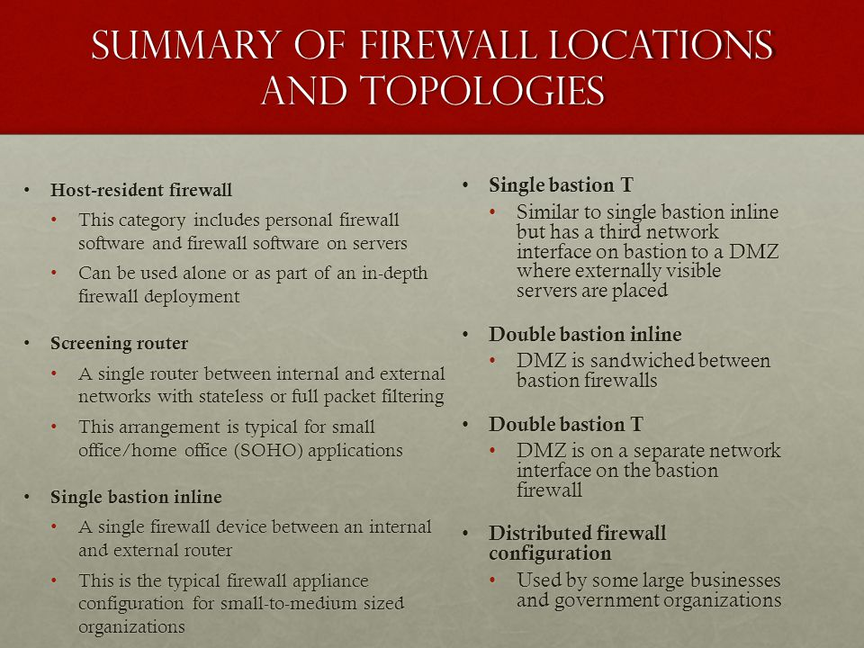 Summary of Firewall Locations and Topologies Host-resident firewall Host-resident firewall This category includes personal firewall software and firewall software on serversThis category includes personal firewall software and firewall software on servers Can be used alone or as part of an in-depth firewall deploymentCan be used alone or as part of an in-depth firewall deployment Screening router Screening router A single router between internal and external networks with stateless or full packet filteringA single router between internal and external networks with stateless or full packet filtering This arrangement is typical for small office/home office (SOHO) applicationsThis arrangement is typical for small office/home office (SOHO) applications Single bastion inline Single bastion inline A single firewall device between an internal and external routerA single firewall device between an internal and external router This is the typical firewall appliance configuration for small-to-medium sized organizationsThis is the typical firewall appliance configuration for small-to-medium sized organizations Single bastion T Single bastion T Similar to single bastion inline but has a third network interface on bastion to a DMZ where externally visible servers are placed Double bastion inline Double bastion inline DMZ is sandwiched between bastion firewalls Double bastion T Double bastion T DMZ is on a separate network interface on the bastion firewall Distributed firewall configuration Distributed firewall configuration Used by some large businesses and government organizations