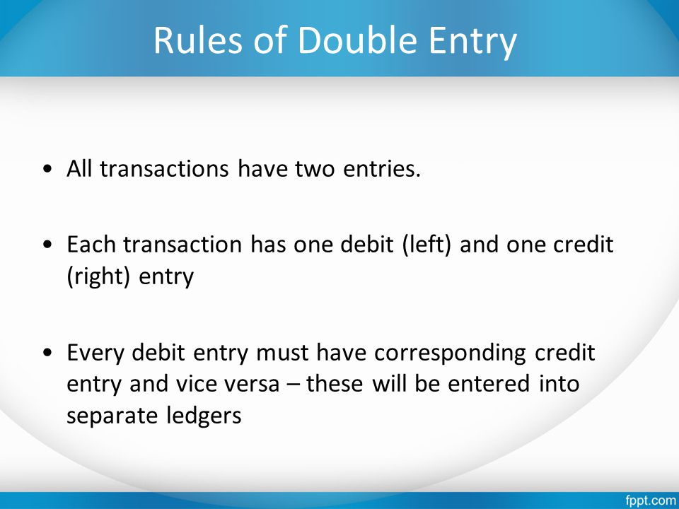 Rules of Double Entry All transactions have two entries. Each transaction has one debit (left) and one credit (right) entry Every debit entry must hav