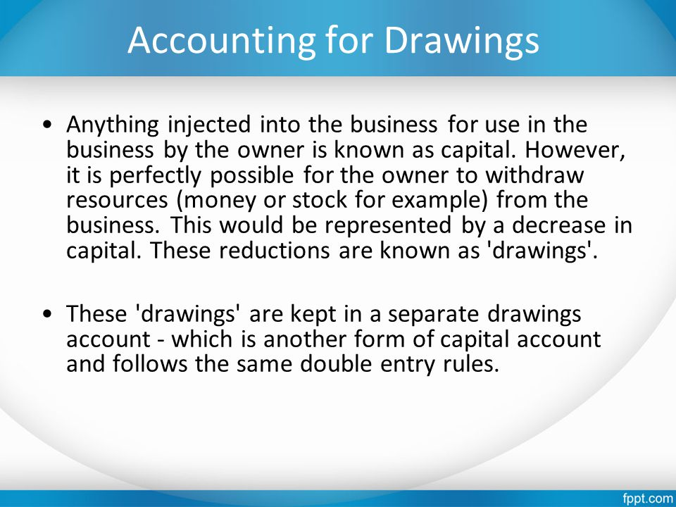Accounting for Drawings Anything injected into the business for use in the business by the owner is known as capital. However, it is perfectly possibl