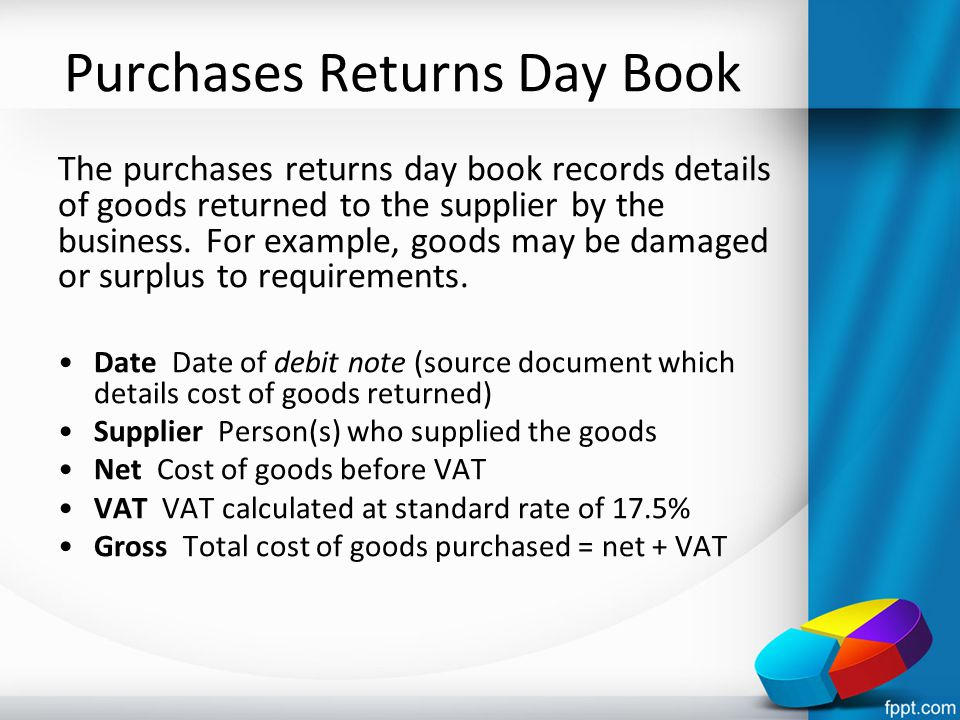Purchases Returns Day Book The purchases returns day book records details of goods returned to the supplier by the business. For example, goods may be