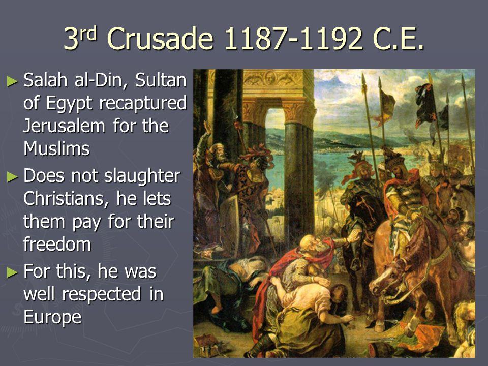 3 rd Crusade 1187-1192 C.E.