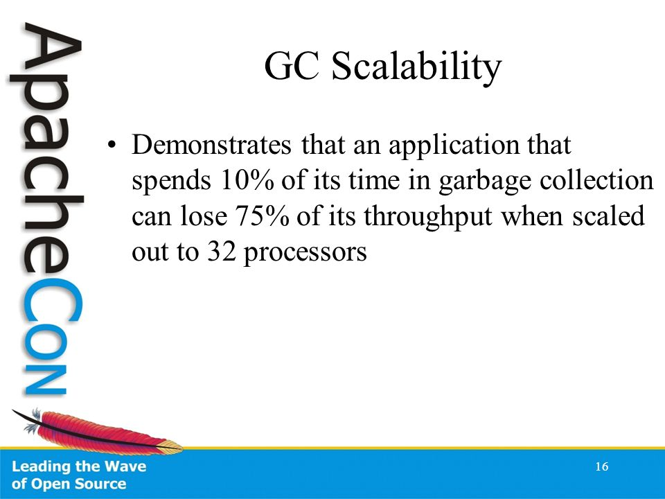 16 GC Scalability Demonstrates that an application that spends 10% of its time in garbage collection can lose 75% of its throughput when scaled out to 32 processors