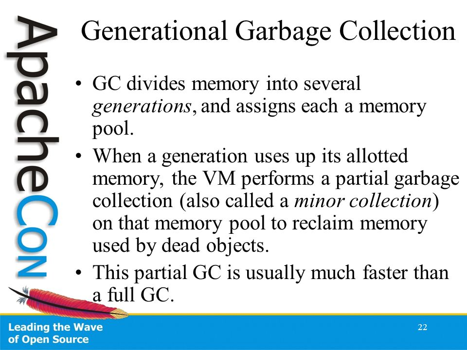 22 Generational Garbage Collection GC divides memory into several generations, and assigns each a memory pool.