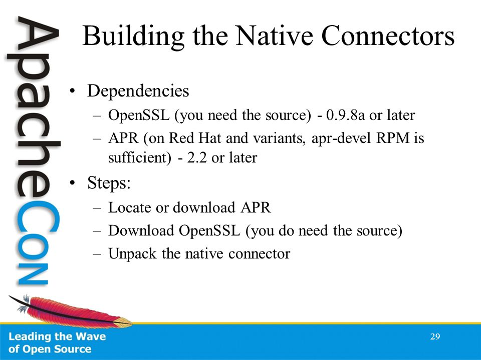 Building the Native Connectors Dependencies –OpenSSL (you need the source) - 0.9.8a or later –APR (on Red Hat and variants, apr-devel RPM is sufficient) - 2.2 or later Steps: –Locate or download APR –Download OpenSSL (you do need the source) –Unpack the native connector 29
