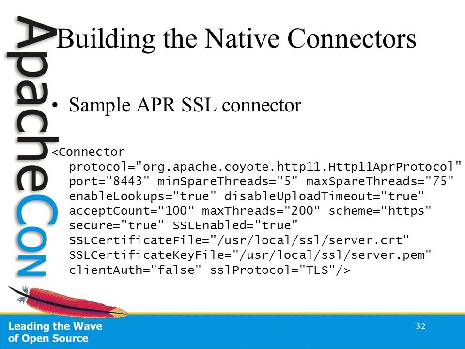 Building the Native Connectors Sample APR SSL connector 32