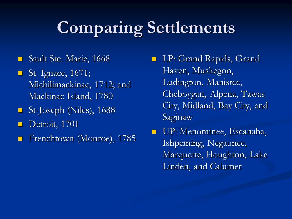 Comparing Settlements Sault Ste. Marie, 1668 Sault Ste. Marie, 1668 St. Ignace, 1671; Michilimackinac, 1712; and Mackinac Island, 1780 St. Ignace, 167