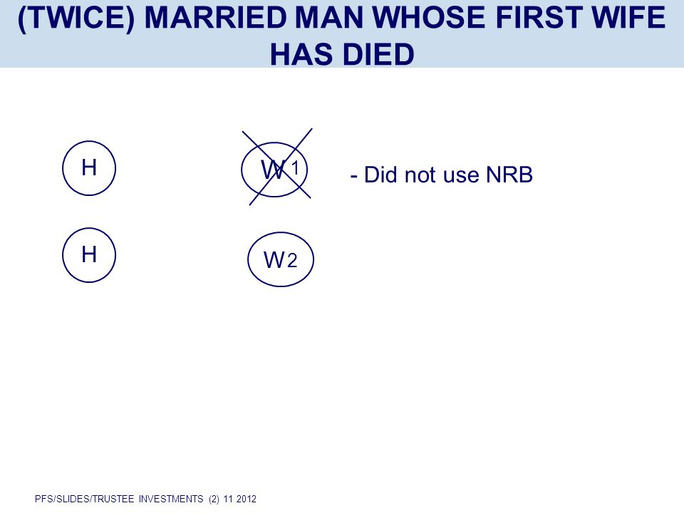 PFS/SLIDES/TRUSTEE INVESTMENTS (2) 11 2012 H (TWICE) MARRIED MAN WHOSE FIRST WIFE HAS DIED W 2 W 1 H - Did not use NRB