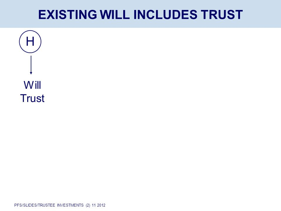 PFS/SLIDES/TRUSTEE INVESTMENTS (2) 11 2012 H EXISTING WILL INCLUDES TRUST Will Trust