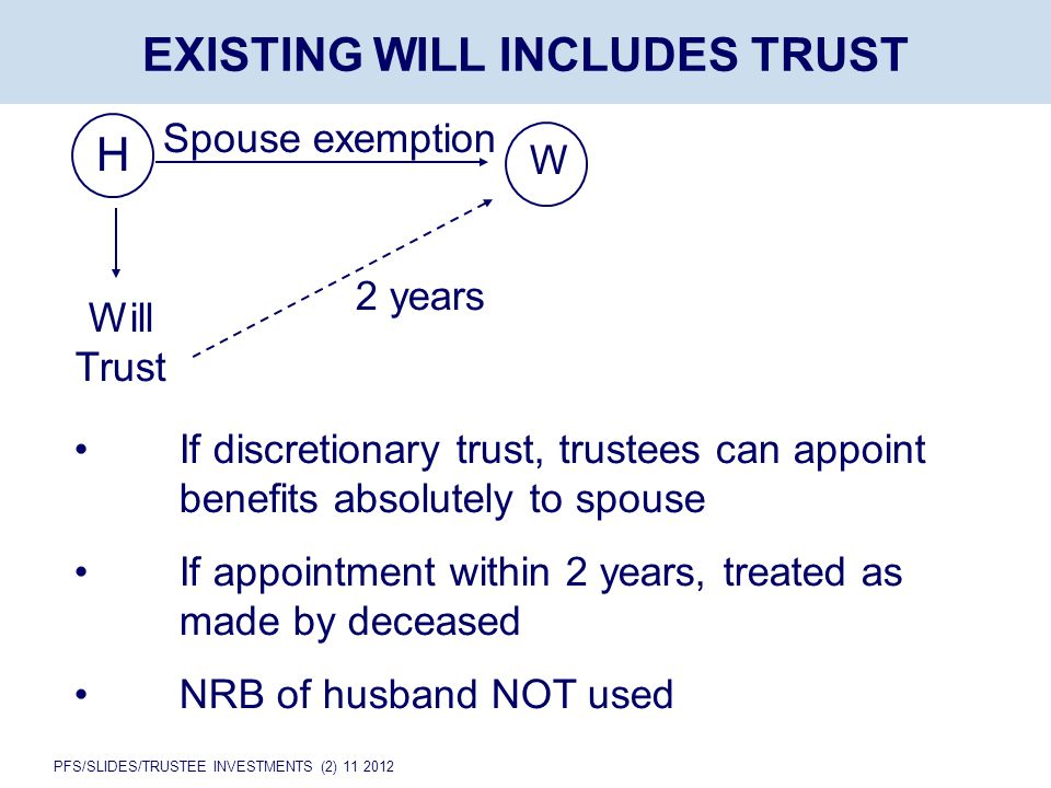 PFS/SLIDES/TRUSTEE INVESTMENTS (2) 11 2012 H EXISTING WILL INCLUDES TRUST Will Trust W Spouse exemption 2 years If discretionary trust, trustees can appoint benefits absolutely to spouse If appointment within 2 years, treated as made by deceased NRB of husband NOT used