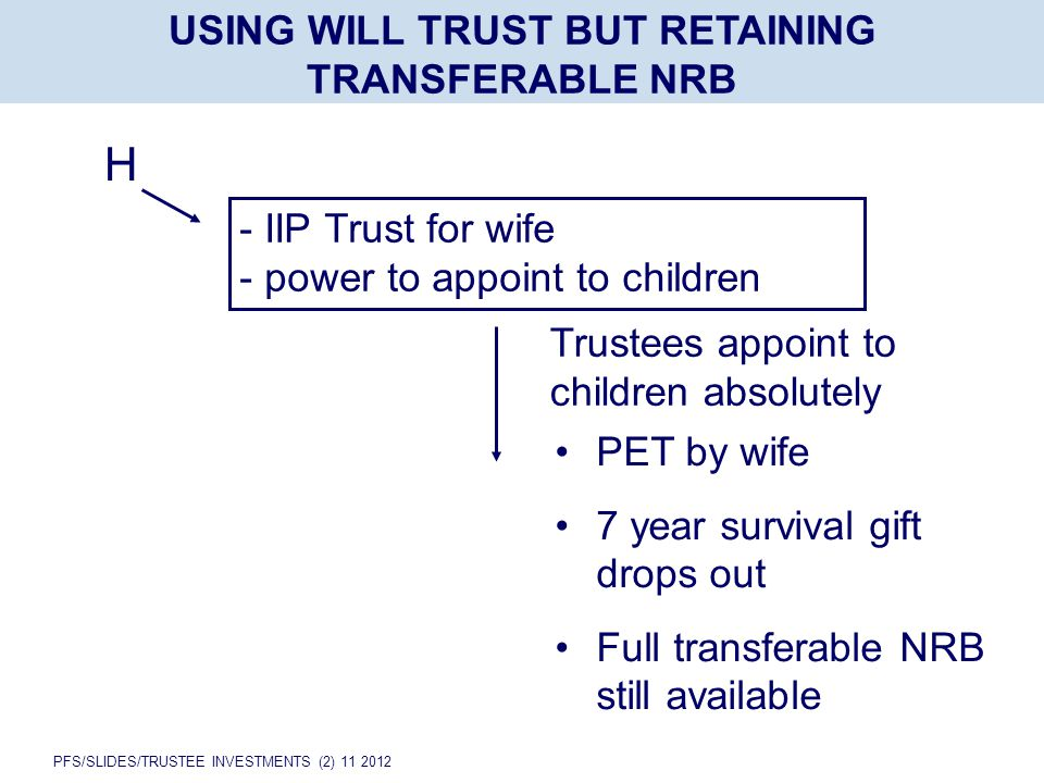 PFS/SLIDES/TRUSTEE INVESTMENTS (2) 11 2012 USING WILL TRUST BUT RETAINING TRANSFERABLE NRB H - IIP Trust for wife - power to appoint to children Trustees appoint to children absolutely PET by wife 7 year survival gift drops out Full transferable NRB still available
