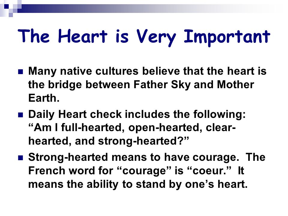 The Heart is Very Important Many native cultures believe that the heart is the bridge between Father Sky and Mother Earth.